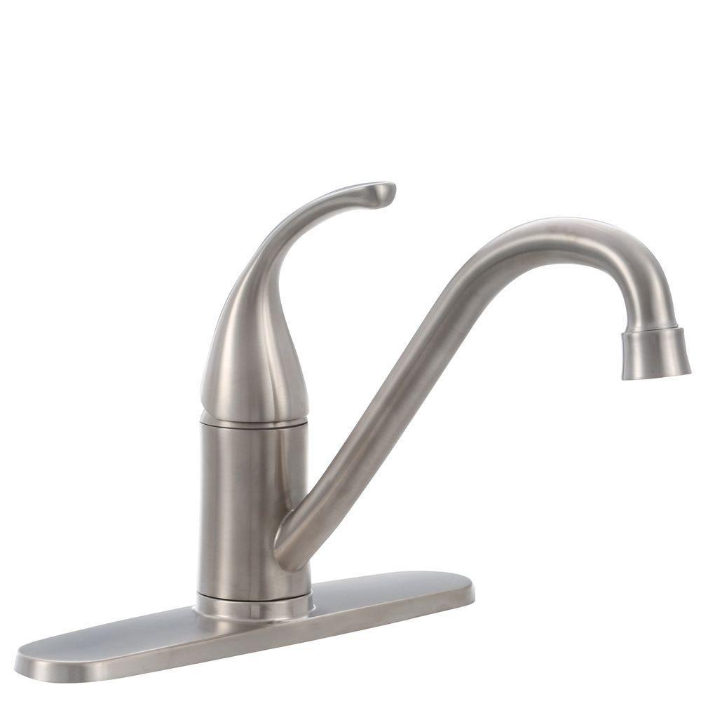 Glacier Bay Builders Single-Handle Standard Kitchen Faucet in Stainless Steel