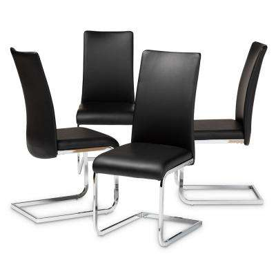 Cyprien Black Faux Leather Upholstered Dining Chair Set Of 4