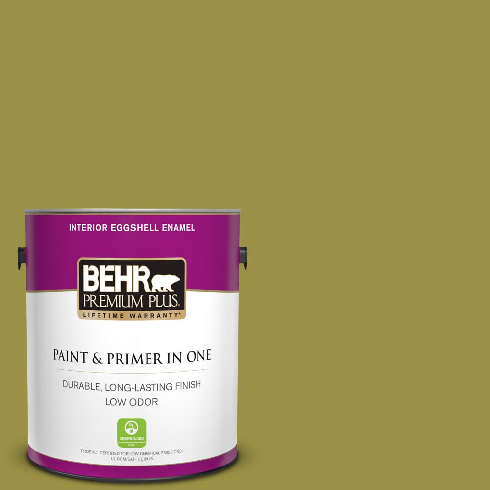 Behr Premium Plus 1 Gal Home Decorators Collection Hdc Fl13 8 Tangy Dill Eggshell Enamel Low Odor Interior Paint Primer 230001 The Home Depot