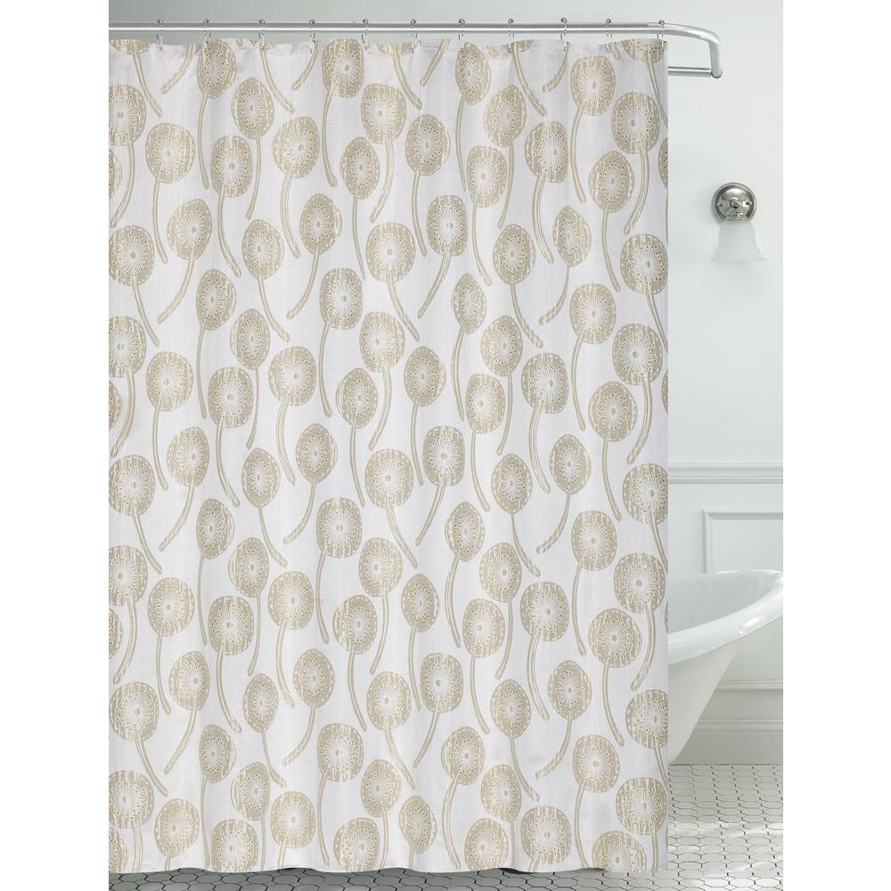 70 in. x 72 in. Champagne Shimmer Dandelion Shower Curtain