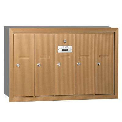 Brass Recessed-Mounted USPS Access Vertical Mailbox with 5 Doors