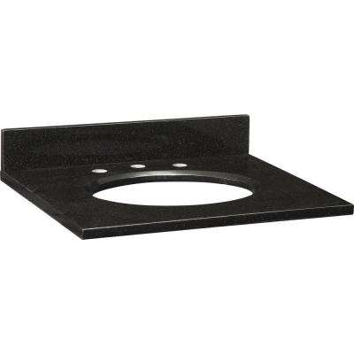 25 in. Granite Vanity Top in Black without Basin