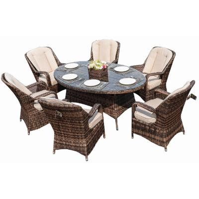 Brown 7-Piece Wicker Outdoor Dining Set with Luxury Beige Cushions