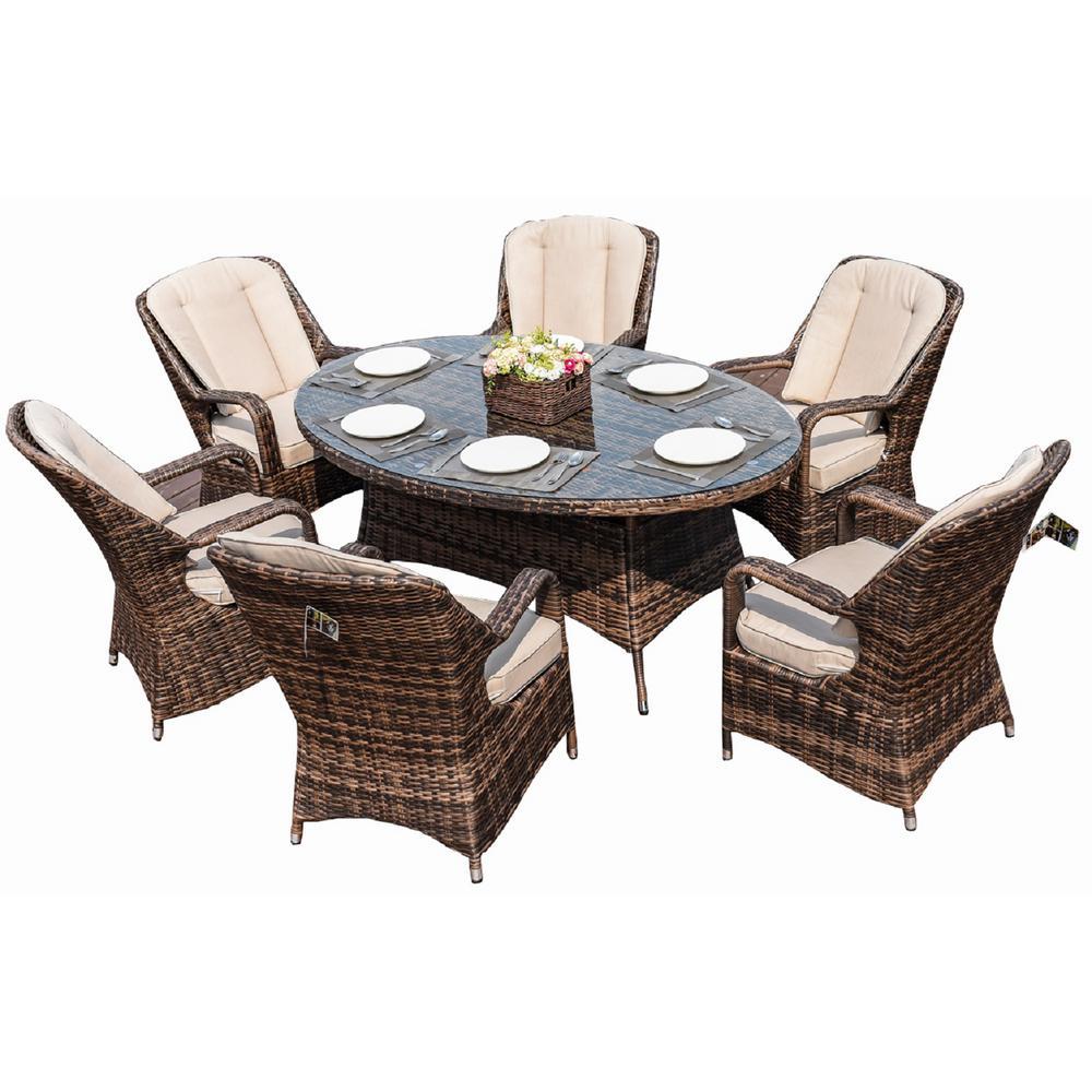 Brown 7 Piece Wicker Outdoor Dining Set