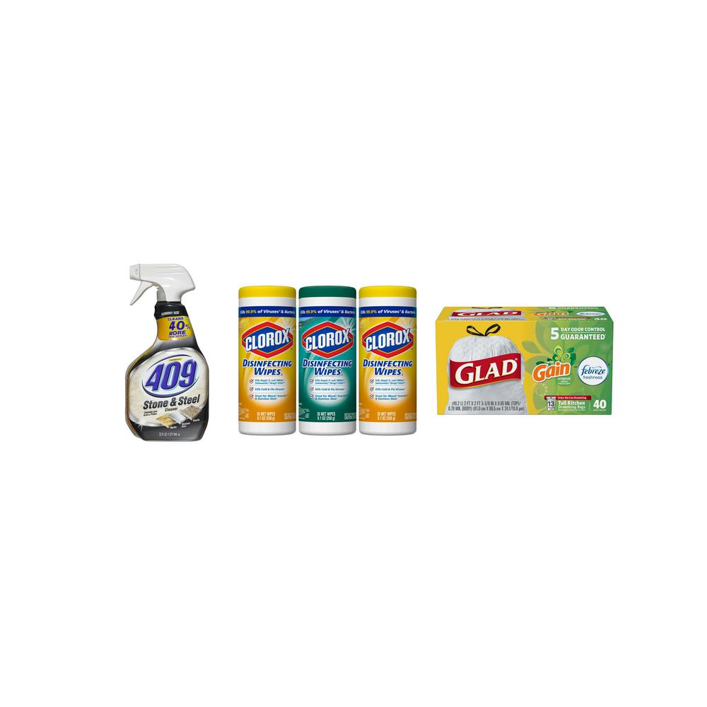 Clorox Keep Your Kitchen Clean with Disinfecting Bleach Free Wipes, 13 Gal.  Trash Bags and Stone and Steel Cleaner