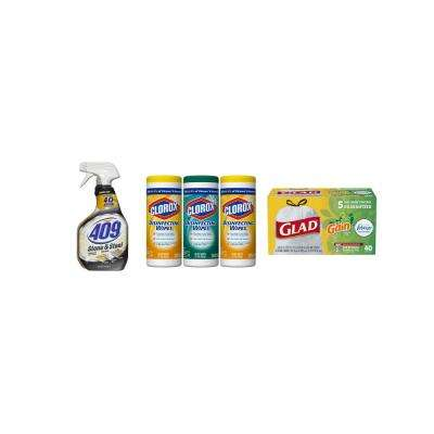 Keep Your Kitchen Clean with Disinfecting Bleach Free Wipes, 13 Gal. Trash Bags and Stone and Steel Cleaner