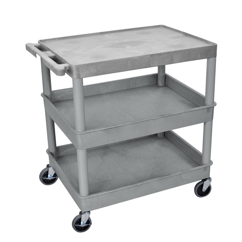 TC 32 in. 3 Shelf Palstic Utility Cart,  Gray