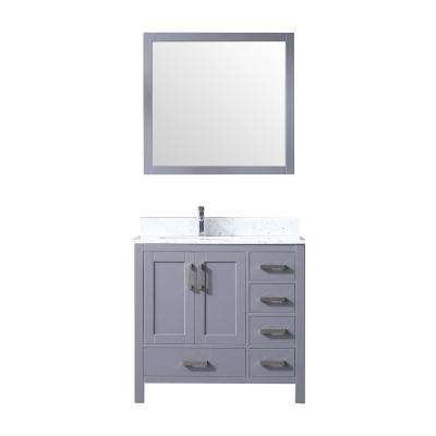 Jacques 36 in. Single Bath Vanity in Dark Grey w/ White Carrera Marble Top w/ White Square Sink and 34 in. Mirror
