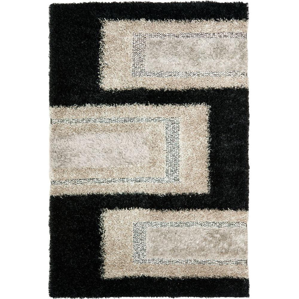 Manhattan Black/Grey 6 ft. x 9 ft. Area Rug