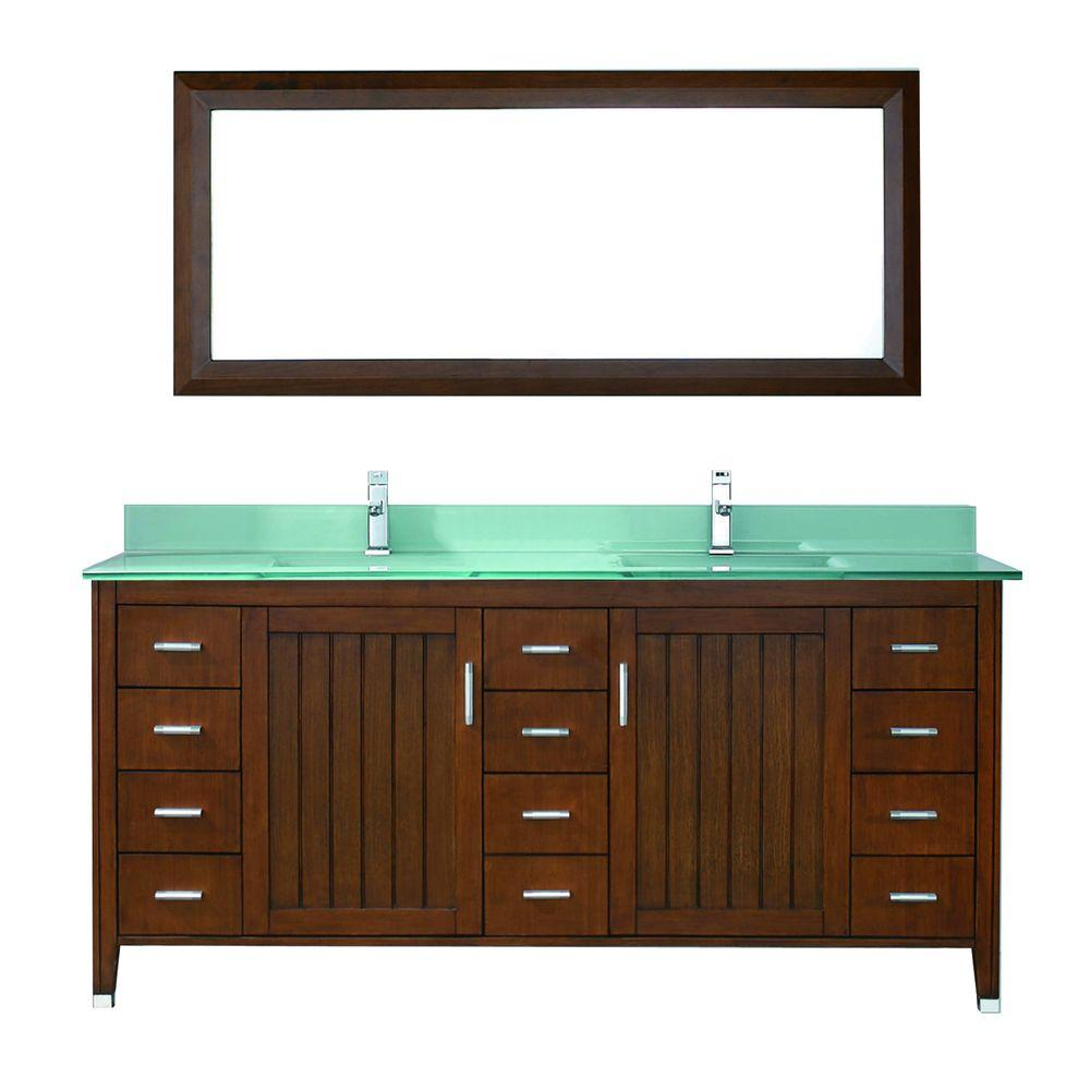 Jackie 72 in. Vanity in Classic Cherry with Glass Vanity Top