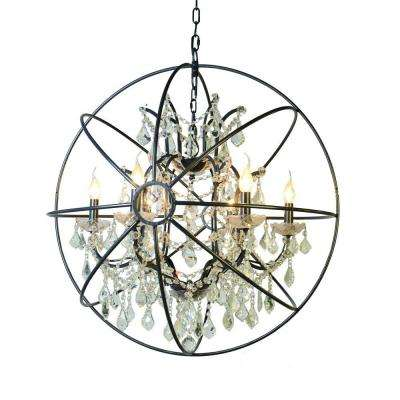 Contessa Collection 6-Light Matte Black Chandelier