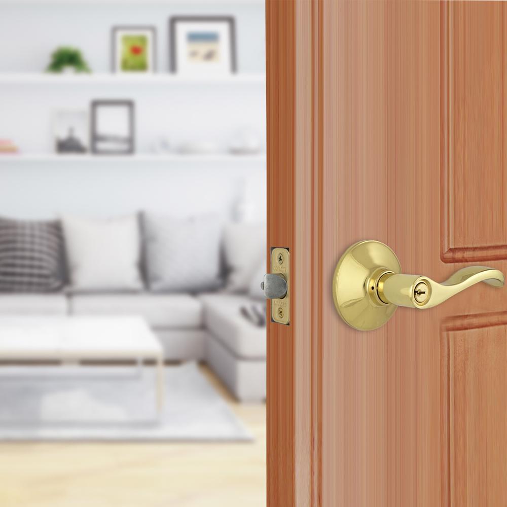Naples Polished Brass Keyed Entry Door Lock