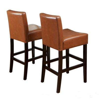 Lopez 26 in. Hazelnut Leather Counter Stool (Set of 2)