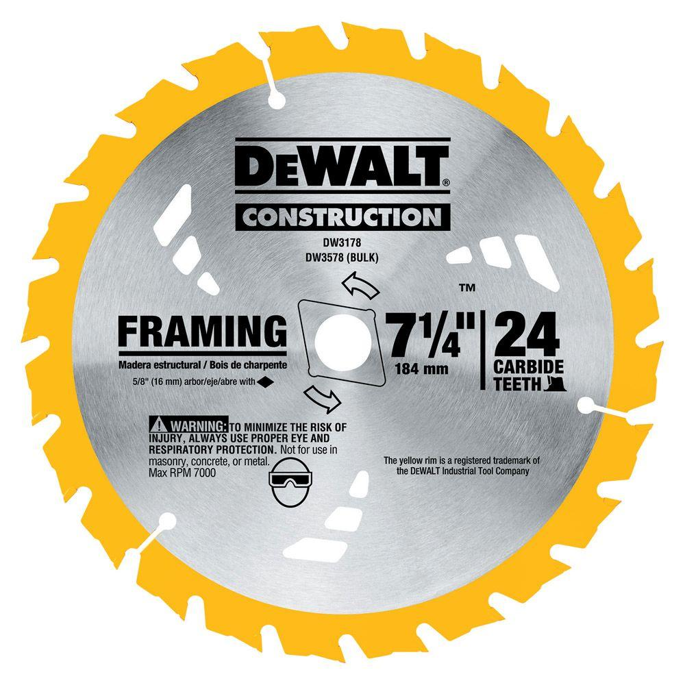 "Dewalt DW3578 7-1//4/"" x 24 Tooth Carbide-Tipped Framing Circular Saw Blade 6 Pk"