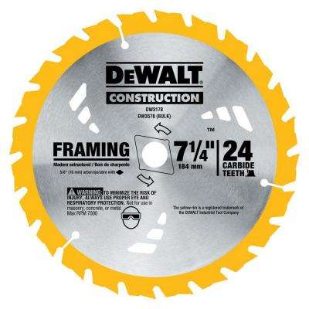 7-1/4 in. Construction 24-Teeth Thin Kerf Framing Blade