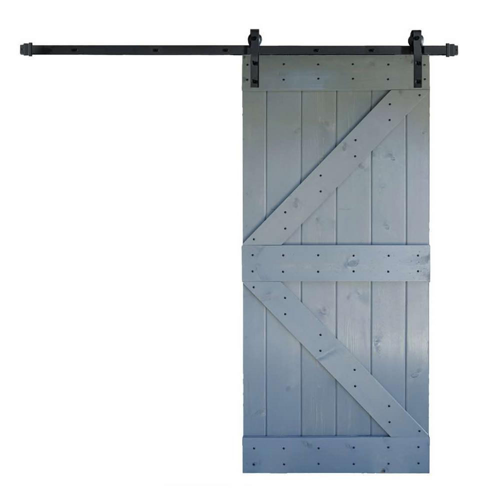 36 In X 84 K Series Diy Dark Grey Finished Knotty Pine Wood Barn Door With 6 Ft Sliding Track Hardware Kit