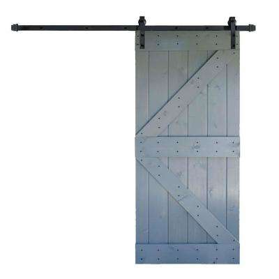 36 in. x 84 in. K Series DIY Dark Grey Finished Knotty Pine Wood Barn Door with 6.6 ft. Sliding Door Track Hardware Kit