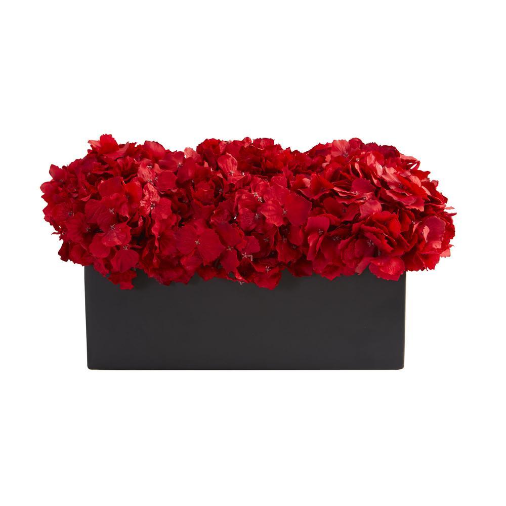 Indoor Red Hydrangea Artificial Arrangement in Ceramic Vase