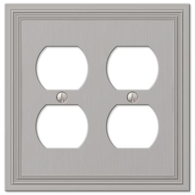 Hallcrest 2 Gang Duplex Metal Wall Plate - Satin Nickel