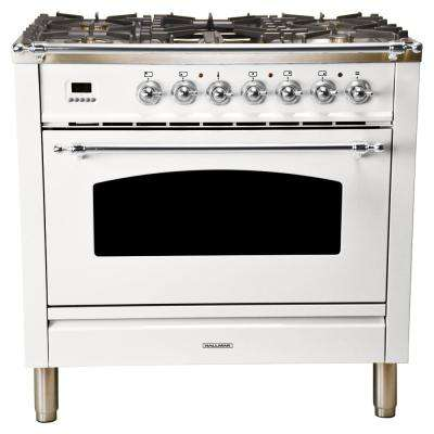 36 in. 3.55 cu. ft. Single Oven Italian Gas Range with True Convection, 5 Burners, Griddle, Chrome Trim in White