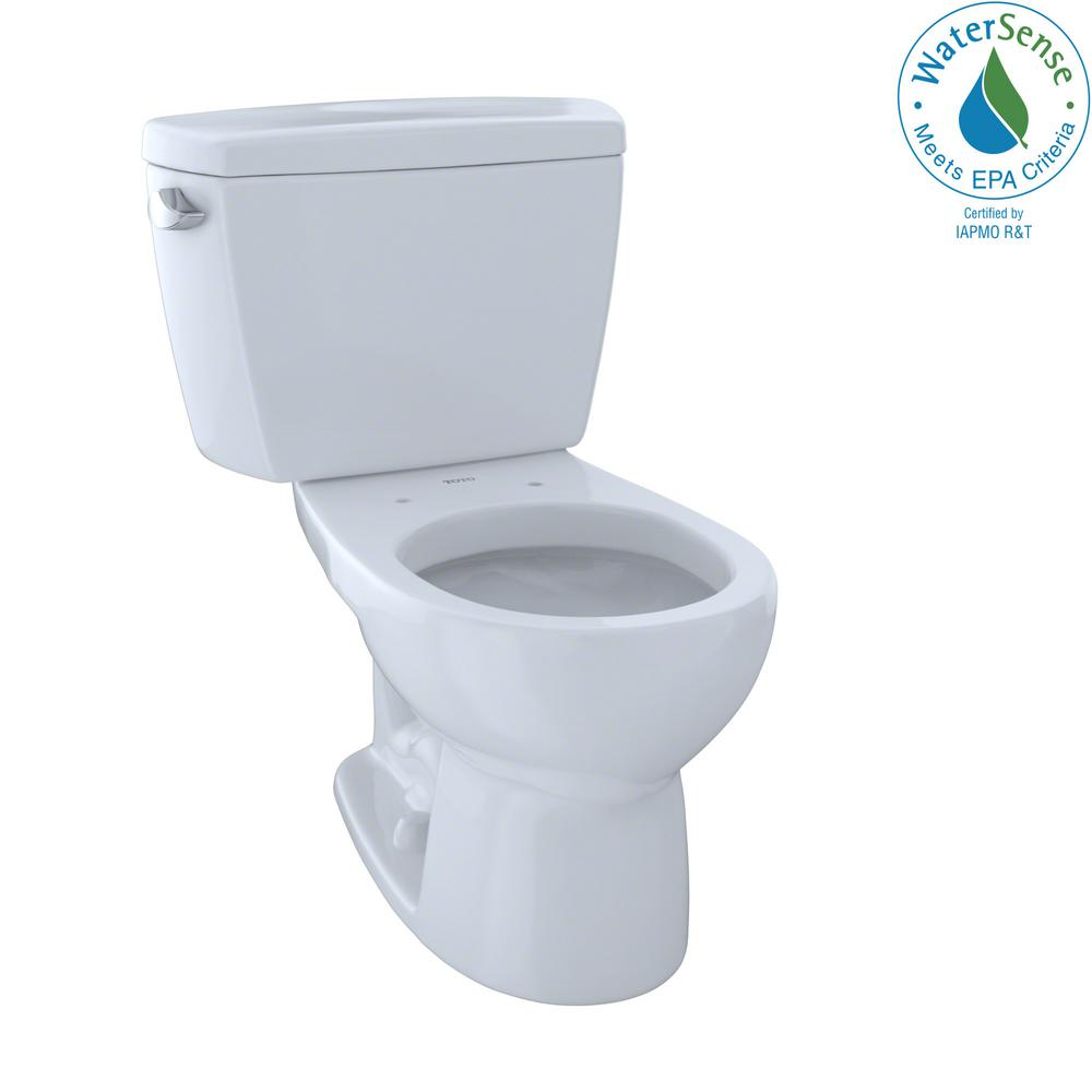 Toto Eco Drake 2 Piece 1 28 Gpf Single Flush Round Toilet In Cotton White