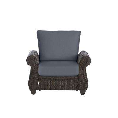 Mill Valley Brown Wicker Outdoor Patio Lounge Chair with CushionGuard Steel Blue Cushions