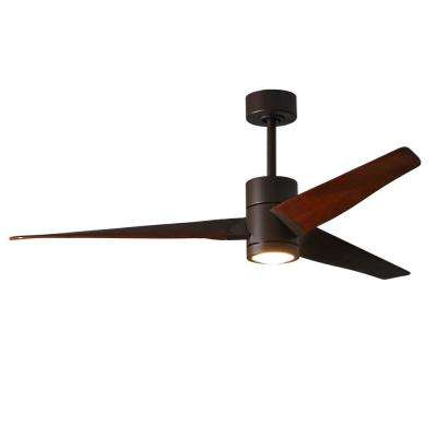 Super Janet 60 in. LED Indoor/Outdoor Damp Textured Bronze Ceiling Fan with Light with Remote Control, Wall Control