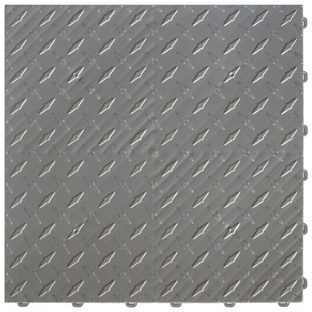 15.75 in. x 15.75 in. Slate Grey Diamond Trax 25-Tile Modular Flooring Pack (43 sq. ft. / case)