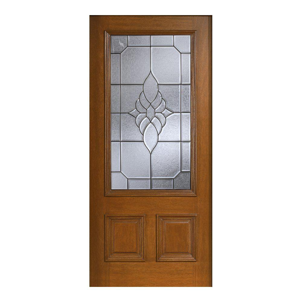 Main Door 36 in. x 80 in. Mahogany Type Prefinished Cherry Beveled Patina 3/4 Glass Solid Stained Wood Front Door Slab