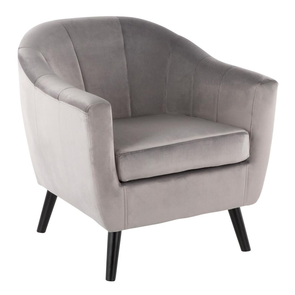 Lumisource rockwell silver velvet accent chair