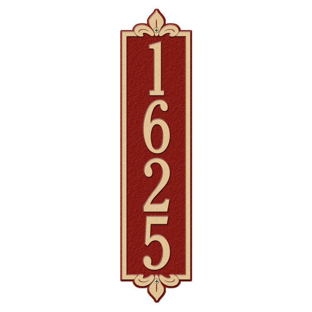 Whitehall Products Rectangular Lyon Estate Wall 1-Line Vertical Address Plaque - Red/Gold