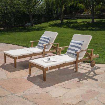 Giancarlo Teak 2-Piece Wood Outdoor Chaise Lounge with Cream Cushion