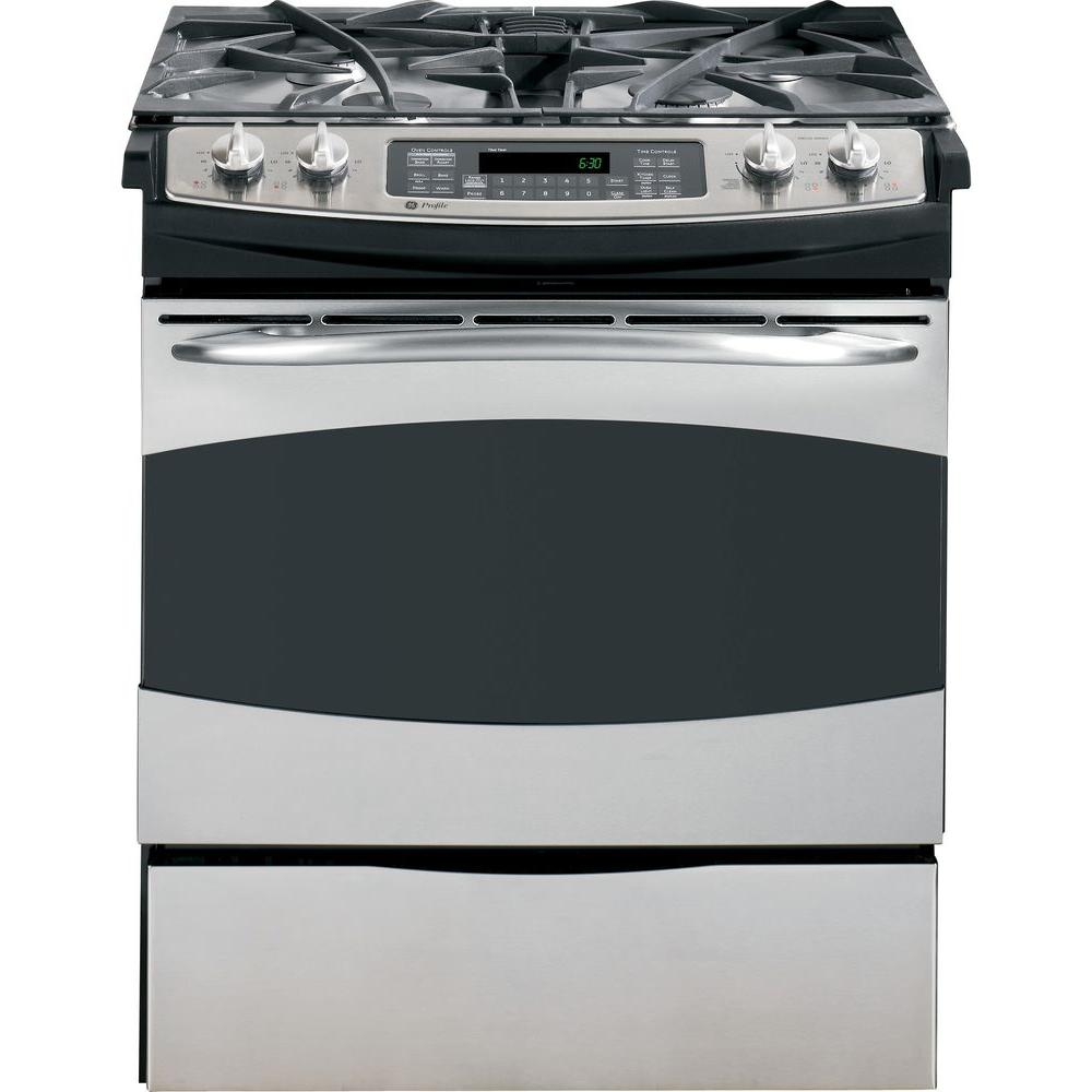 GE Profile 4.1 cu. ft. Slide-In Gas Range with Self-Cleaning Convection Oven in Stainless Steel
