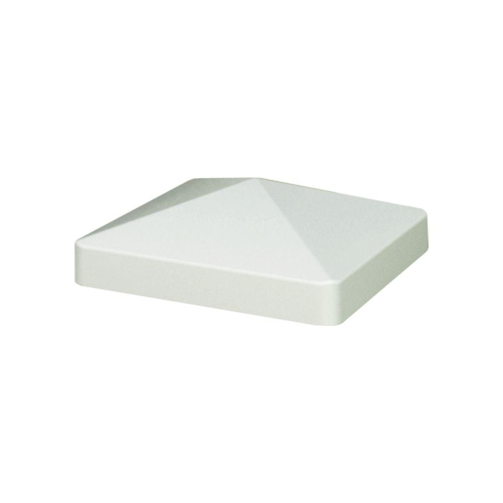 4 in. x 4 in. White Composite Pyramid Fence Post Cap