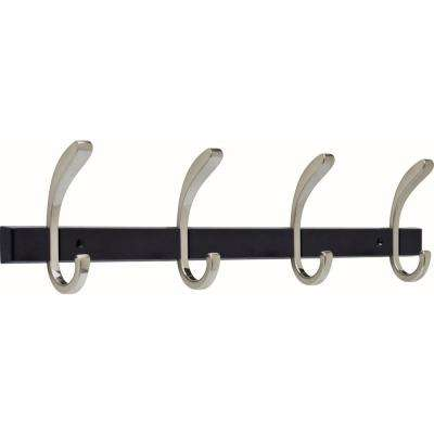 22 in. Satin Nickel and Cocoa Bronze Softened Curve Hook Rack