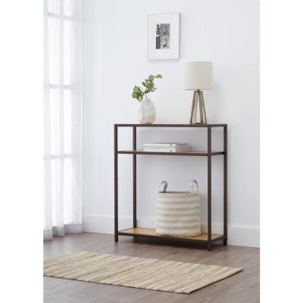 32 in. W x 12 in. D 3-Tier Bronze Anthracite Bamboo Decorative Shelf