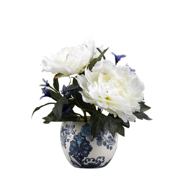 D&W Silks Indoor Cream Peonies in Blue and White Ceramic Planter