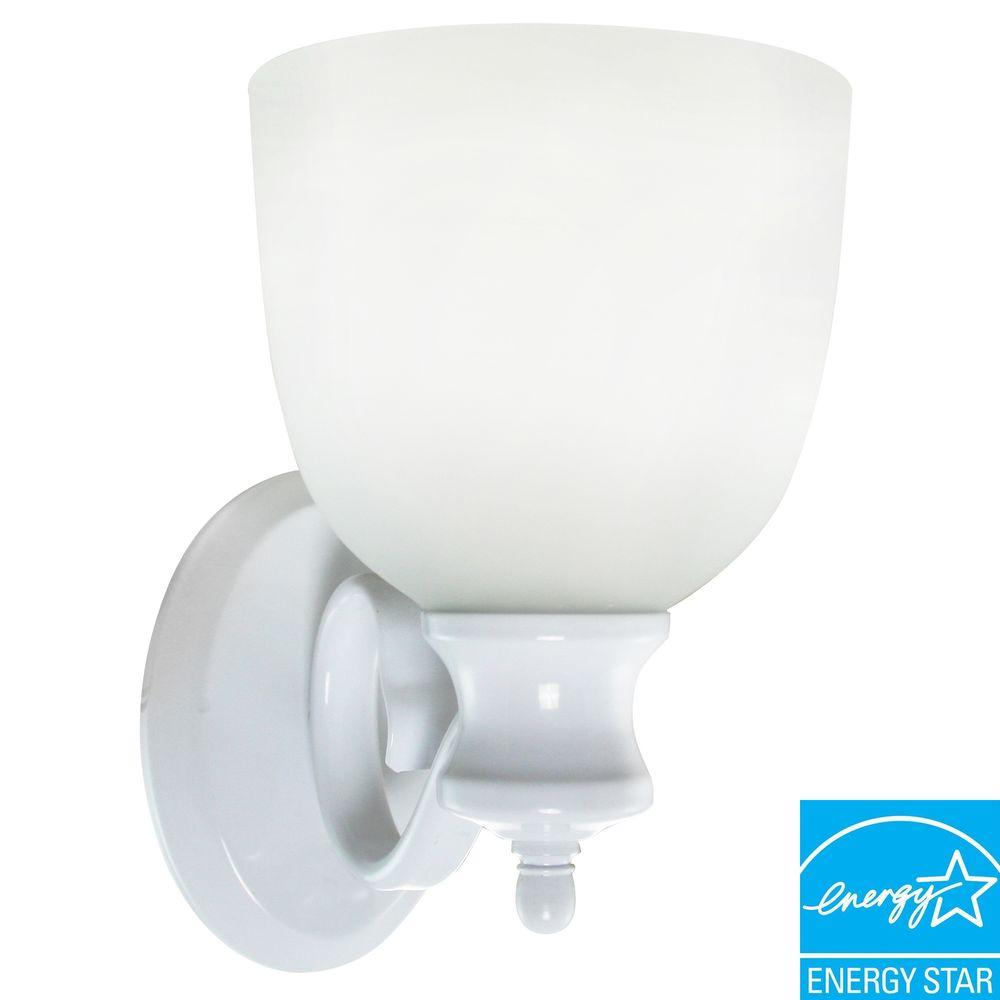 Efficient Lighting Classical Wall Sconce in Powder Coated White Finish with Bulbs-DISCONTINUED