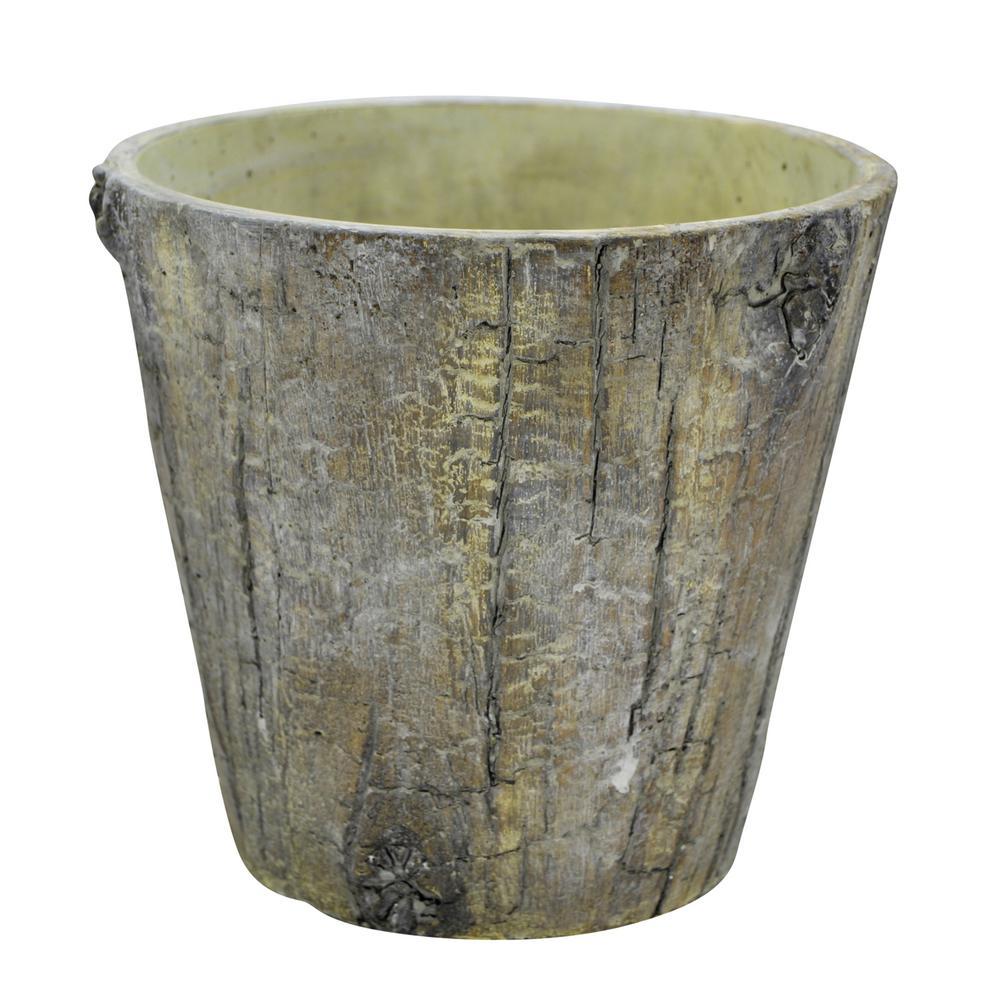 6.5 in. Grey Wood Look Pot