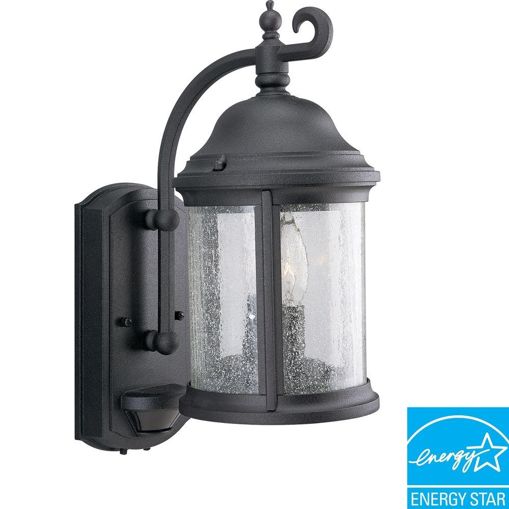 Ashmore Collection Textured Black 2-Light Outdoor Wall Lantern