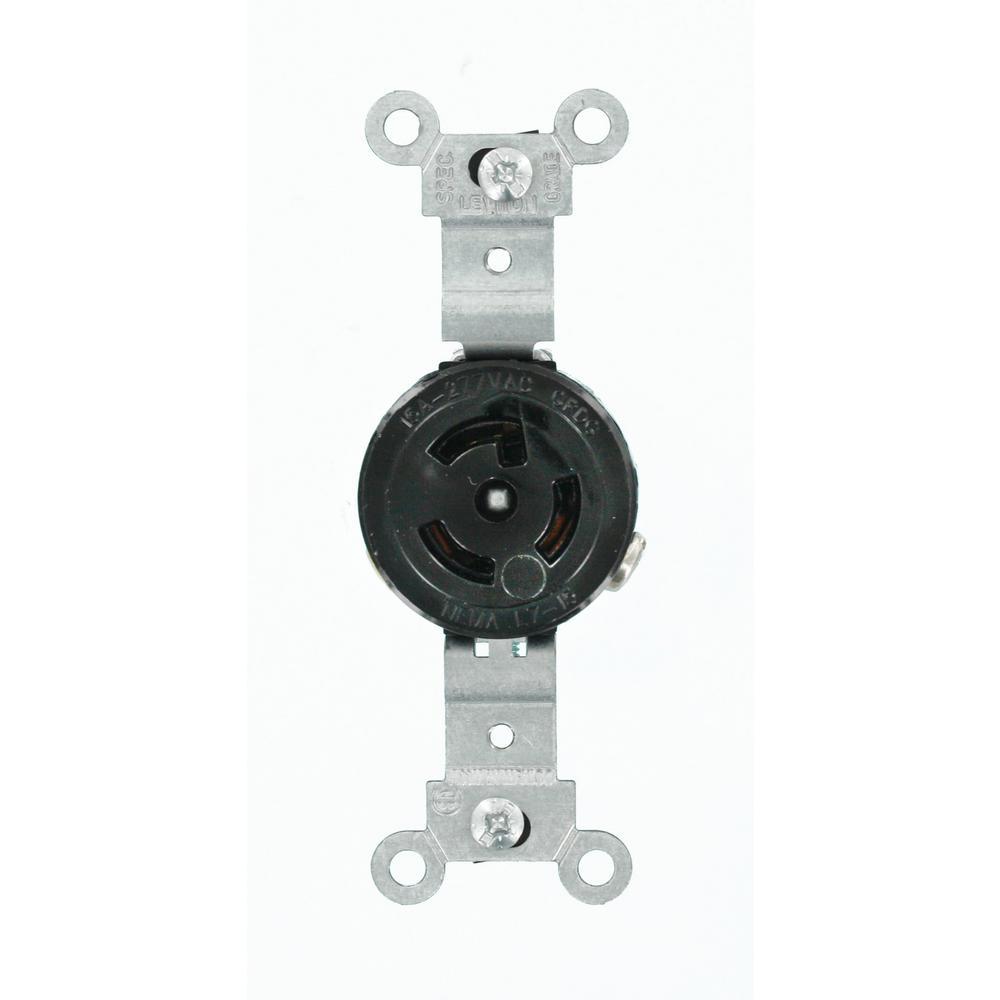 15 Amp 277-Volt Industrial Grade Locking Outlet, Black