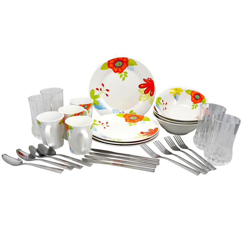 Rennes Verdant 28-Piece White Floral Print Combo Dinnerware Set