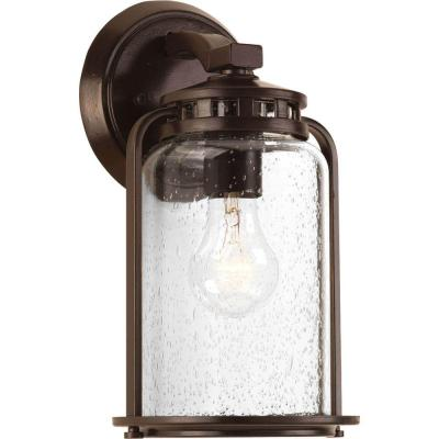 Botta Collection 1-Light Antique Bronze 11.6 in. Outdoor Wall Lantern Sconce