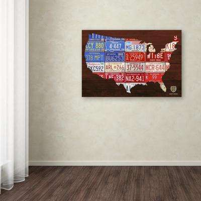 """22 in. x 32 in. """"USA Flag Map"""" by Design Turnpike Printed Canvas Wall Art"""