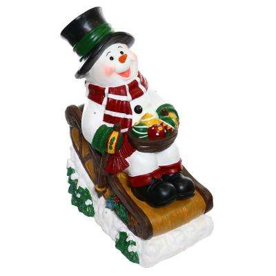 Alpine Corporation Solar Snowman in Sleigh with LED Lights, Outdoor Festive Holiday Décor for Garden, Porch, Lawn