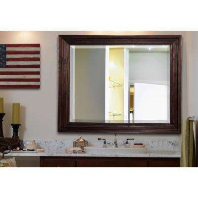 32.75 in. x 38.75 in. Barnwood Brown Rounded Beveled Wall Mirror
