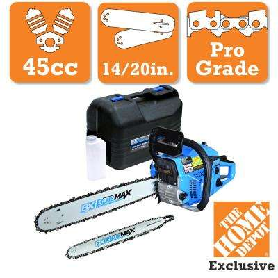 2-In-1 20 in. and 14 in. 45cc Gas Chainsaw Combo with Blow Molded Case