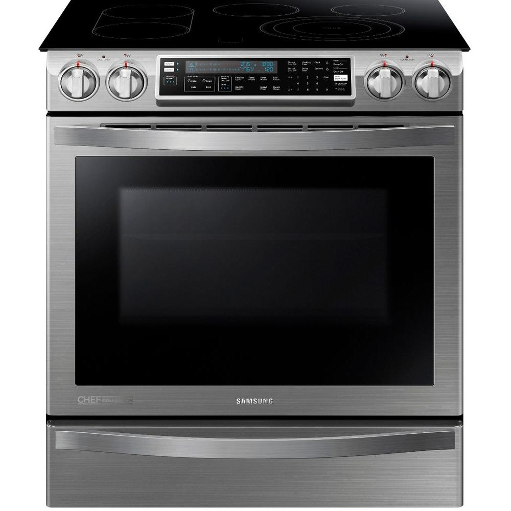 Samsung CHEF Collection 30 in. W 5.8 cu. ft. Slide-In Flex Duo Range with Self-Cleaning Convection Oven in Stainless Steel