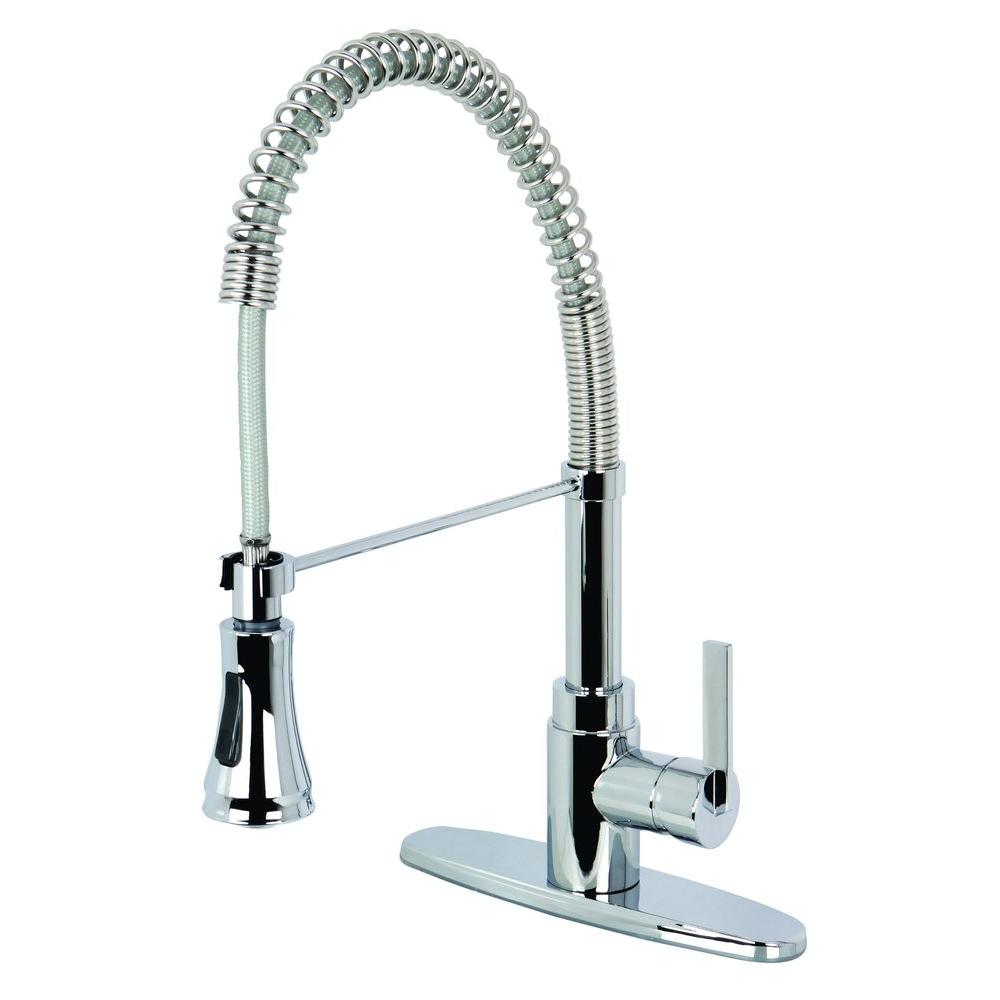 Kingston Brass Single Handle Pull Down Sprayer Kitchen Faucet In