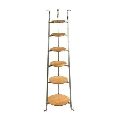Handcrafted 6-Tier Gourmet Cookware Stand with Alder Shelves Hammered Steel